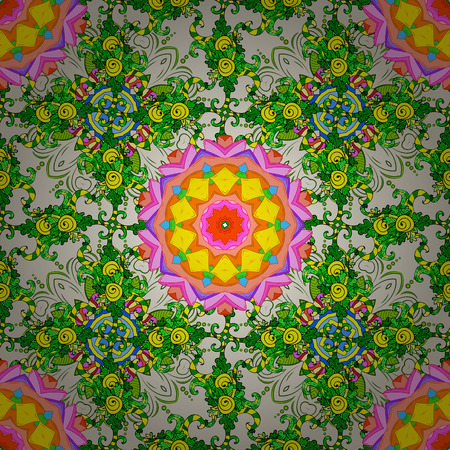 pink and green: Seamless floral mandala pattern in pink, green on light background.