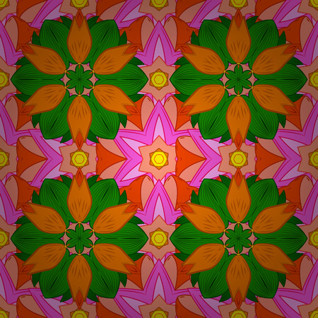 pink and green: Seamless floral mandala pattern in pink, green, orange on floral background.