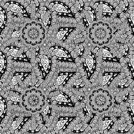 raster illustration: Abstract hand-drawn pattern with gray doodles. Raster illustration Stock Photo