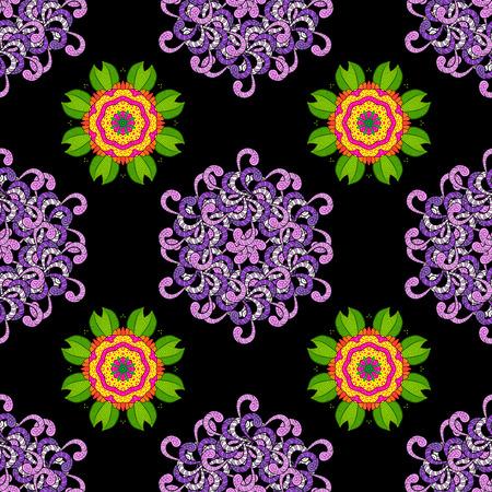 ornamental round lace pattern. Raster seamless texture with mandala.