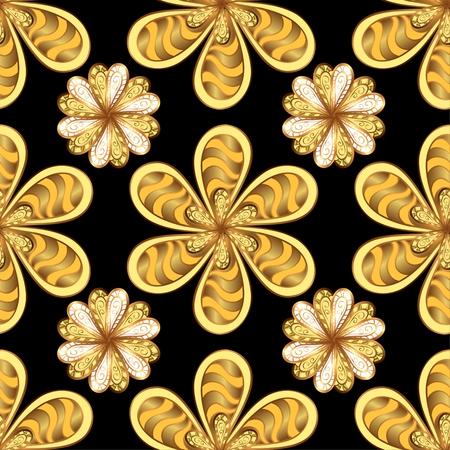 golden daisy: black background with golden petals flowers. Vector.