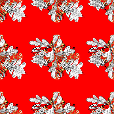 Seamless vintage pattern on light red background with golden elements.