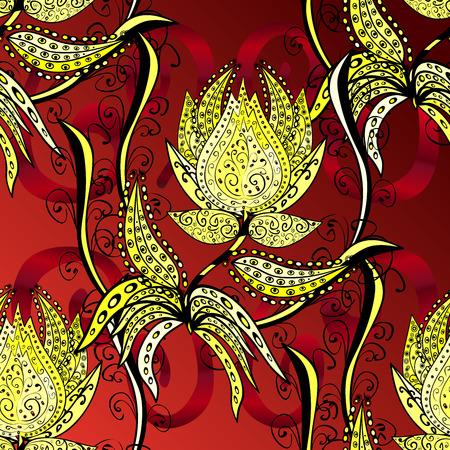 mhendi: Raster Illustration Design Elements deep yellow on red gradient background Stock Photo