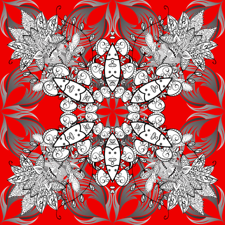 dressing: Pattern with white and gray doodles and mandala flowers on red background. Raster illustration. Stock Photo