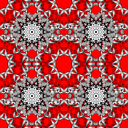 Pattern with white doodles and mandala flowers on red background. Raster illustration.