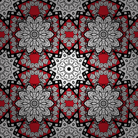 Ethnic ornament mandala geometric patterns in white colors on red floral background. Seamless pattern. Illustration