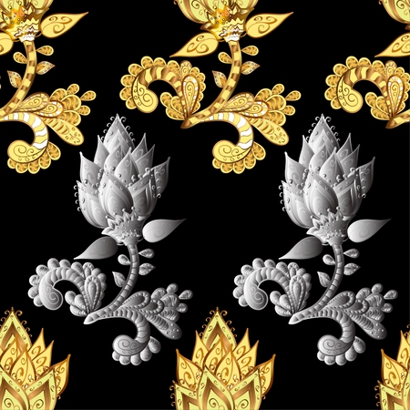 sumptuous: Rich delicate sumptuous seamless background pattern with golden and silver contour stylized flowers isolated on the black fond. Vector illustration