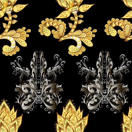 fond: Rich delicate sumptuous seamless background pattern with golden and silver contour stylized flowers isolated on the black fond. Vector illustration