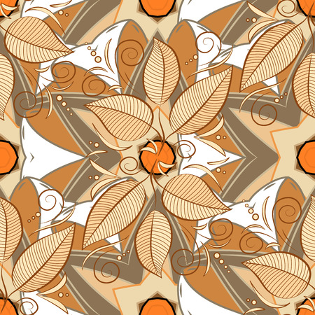 Motley bay leaves repeat pattern on beige, white and brown background vector.