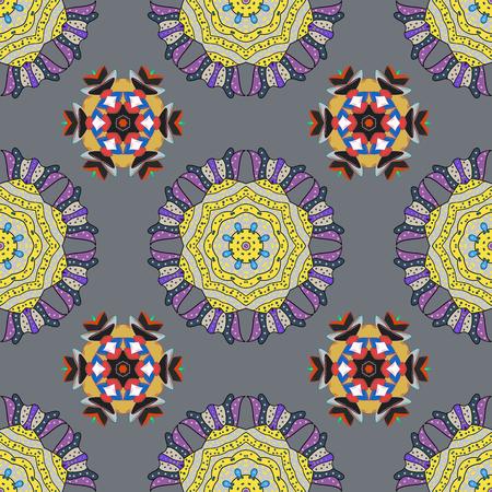 mandalas: Hand drawn seamless pattern with mandalas. Vector.