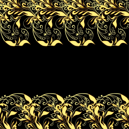 gold ornaments: Golden vintage seamless pattern with lot of detailed flourish elements on black background. Row. Vector.