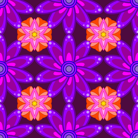 lilac flower: Vintage pattern on petals round background with lilac flower. Pink, lilac mandalas background. Illustration
