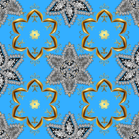 spun: seamless texture with golden pattern on blue background. Vector. Illustration