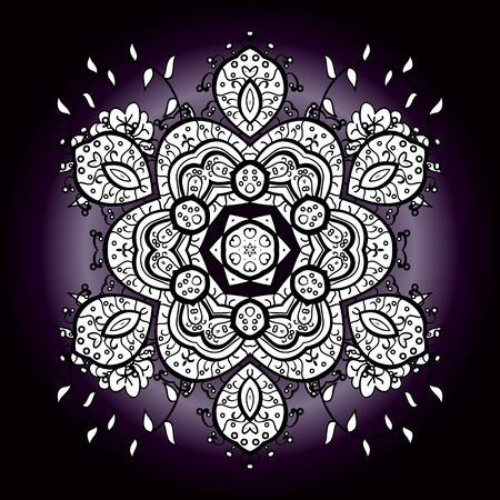 Vintage pattern on mandala round background with white flower. White, lilac, violet mandalas background.