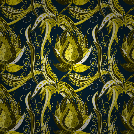 scrollwork: Seamless pattern with curls. Elegant scrollwork in the form of drops. Dark blue background with yellow and black patterns. Vintage ornament with floral stylized patterns. Illustration