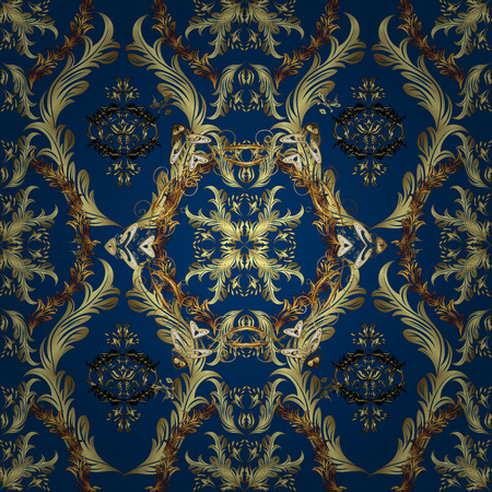 vintage floral pattern: Luxury seamless ornamental Wallpaper: gold on dark blue.