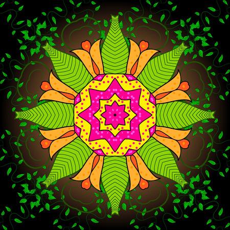 circle flower: Seamless background. Circle flower mandalas seamless pattern in black, orange, yellow and green, vector
