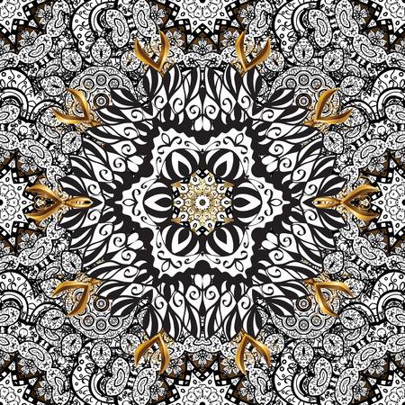 golde: Seamless vintage pattern on golden background with white floral elements. Illustration