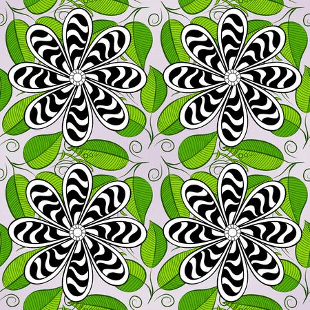 asian gardening: White stripe flowers on white background. Vector illustration. white, black, green.
