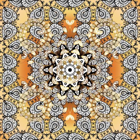 golde: Vintage pattern on golden background with white floral elements.