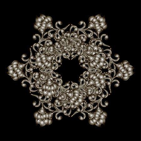 rhinestones: Christmas snowflake crystal precious. Beautiful jewelry, medallion, brooch, decoration on neck, mandala, frame. Fashion pattern brilliant stones, silver applique rhinestones, jeweler - stock vector Illustration
