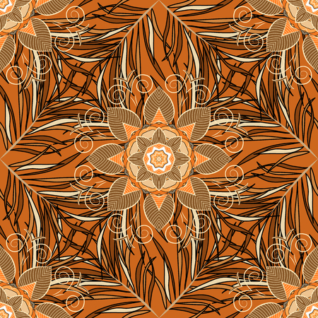 Seamless pattern with Mandalas. Vector ornaments, background. Brown. Beige.