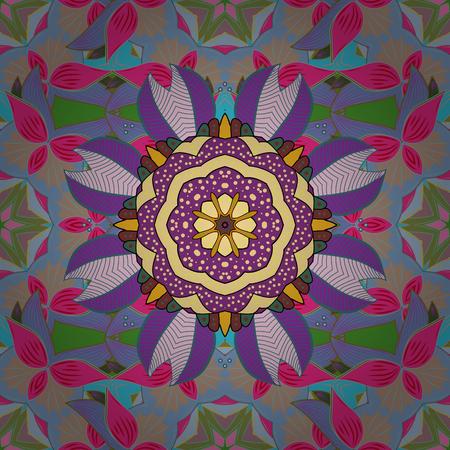 fussy: Hand drawn seamless pattern with mandalas. Vector.