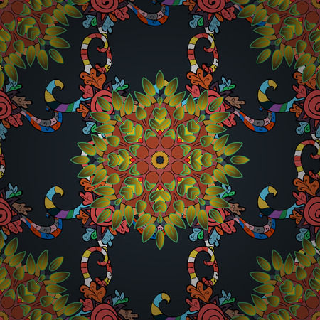 seamless texture with abstract flowers colorful doodles mandala on dark blue background.