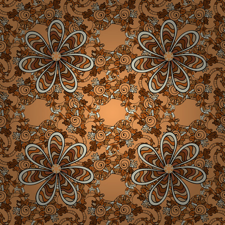 eastern spirituality: Seamless pattern with Mandalas. Vector ornaments, background. Brown. Beige.