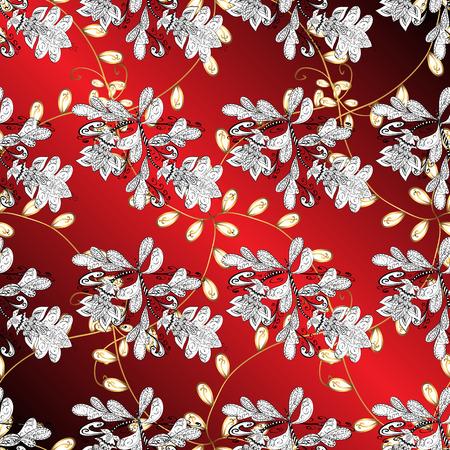 drapes: Vintage pattern on red gradient background with golden elements. Illustration