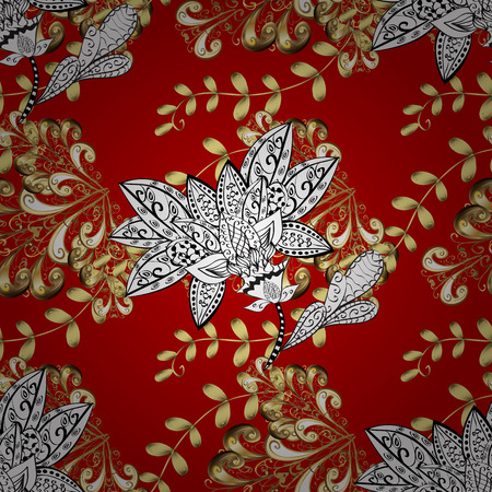 drapes: Seamless vintage pattern on red gradient background with golden elements. Illustration