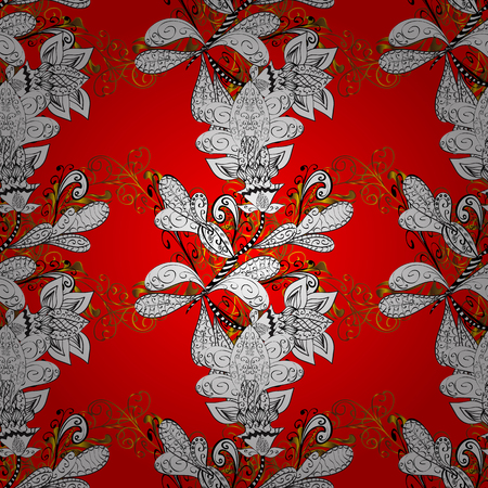 drapes: Seamless vintage pattern on light red background with golden elements.