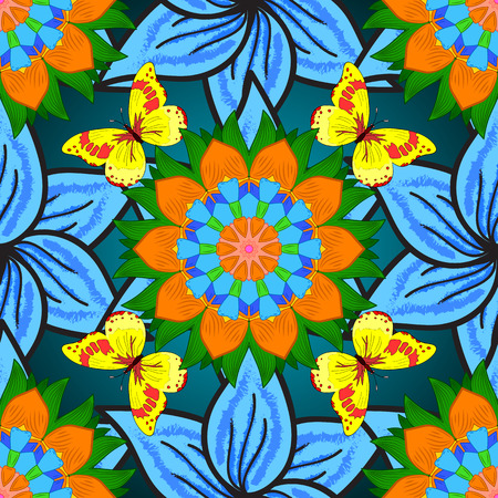 yellow butterflies: Seamless background. Circle flower mandalas seamless pattern in green, blue, orange with yellow butterflies. Vector Illustration