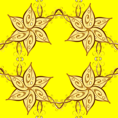 edwardian: Seamless abstract pattern on yellow background with floral golden elements. Vector illustration. Pattern background.