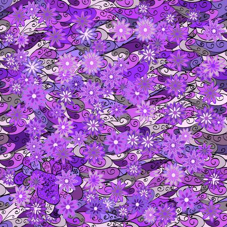 fussy: Vintage pattern on doodles background with lilac flower. Violet, lilac, purple background. Illustration