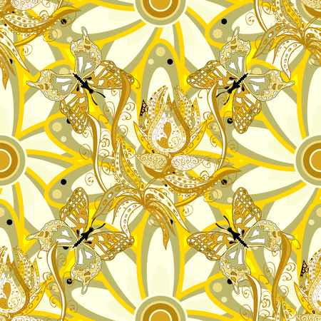 Seamless floral pattern. Light yellow flowers on a yellow background Иллюстрация