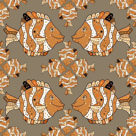 pink dolphin: a seamless pattern with fish. Brown. Beige. Vector.