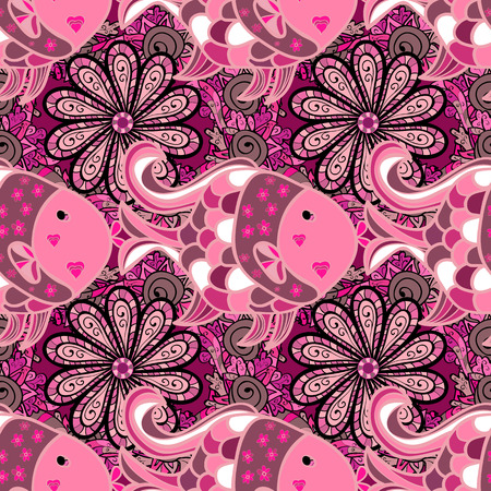 Pink petals flowers seamless background. Vector illustration. Fish Illustration
