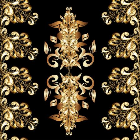 gold ornaments: Seamless vintage pattern on black background with golden elements.