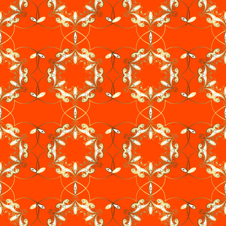 Seamless abstract pattern on orange background with floral golden elements. Vector illustration. Pattern background.
