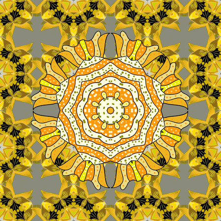 colores calidos: Beautiful texture with mandalas in warm colors. Vector.