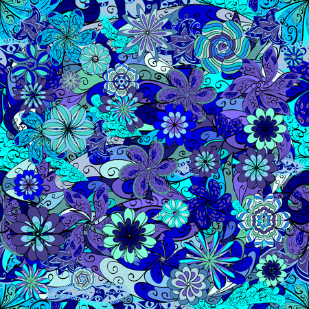abstract blue petals flowers background. Vector illustration. Illustration