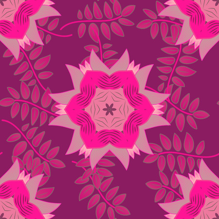 vector seamless background with pink mandalas