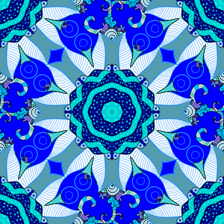 abstract blue mandala flowers background. Vector illustration. Illustration