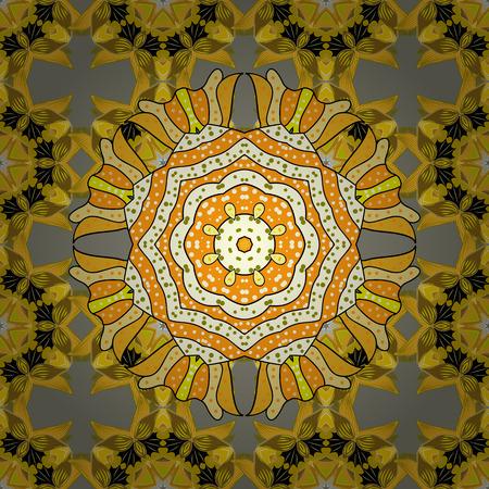 mendie: Beautiful texture with mandalas in warm colors. Vector.