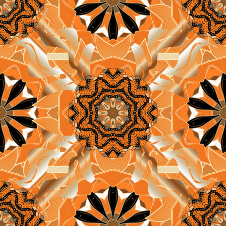 Repeating geometric tiles with mandala. Vector laced decorative background with floral and geometric ornament. Seamless oriental ornamental pattern. Indian or Arabic motive. Brown, orange, white Illustration