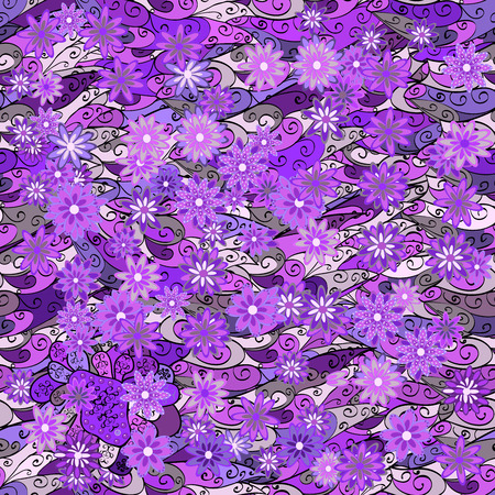 lilac flower: Vintage pattern on doodles background with lilac flower. Violet, lilac, purple background. Stock Photo