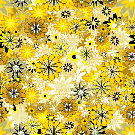 sateen: Seamless floral pattern. Light yellow flowers on a yellow background. Raster.