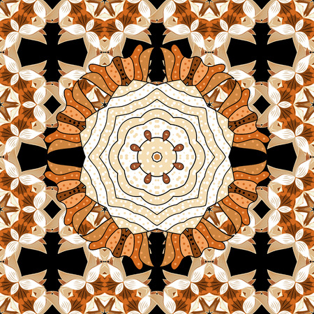 Repeating geometric tiles with mandala. Vector laced decorative background with floral and geometric ornament. Seamless oriental ornamental pattern. Indian or Arabic motive. Brown, white. Illustration