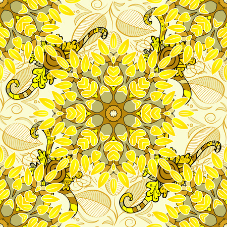 sateen: Seamless floral pattern. Light yellow flowers and doodles on a yellow background